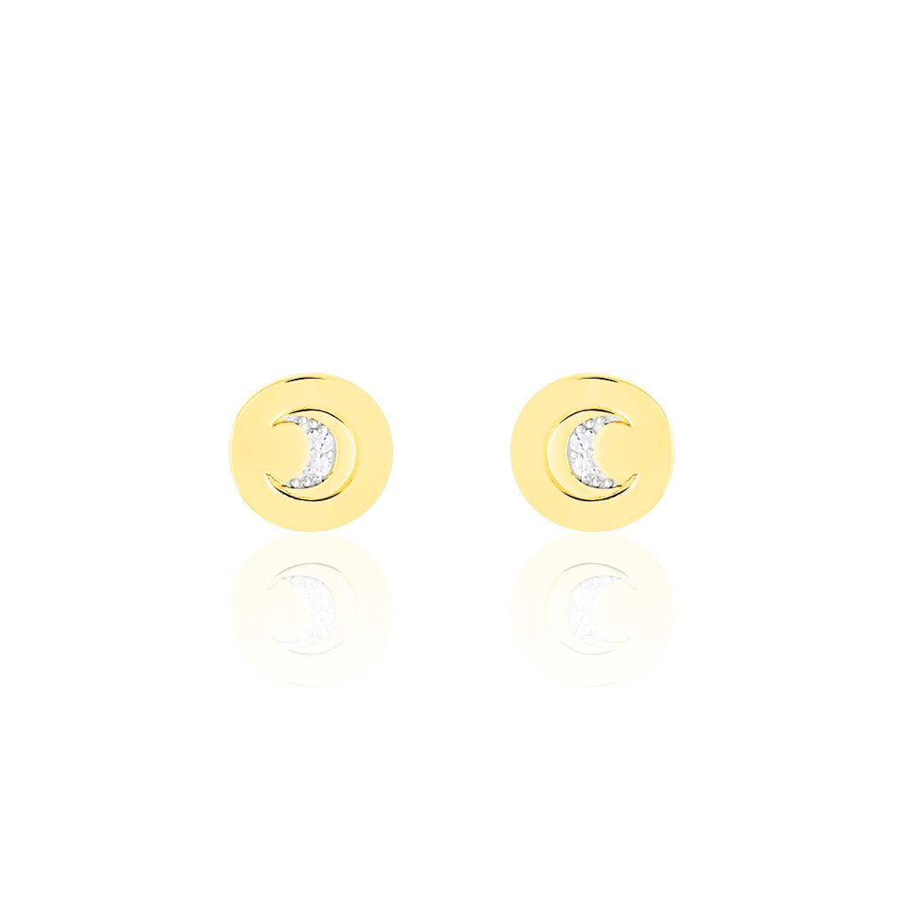 Boucles D'oreilles Puces Yamna Or Jaune Oxyde De Zirconium - Boucles d'Oreilles Coeur Femme   Histoire d'Or