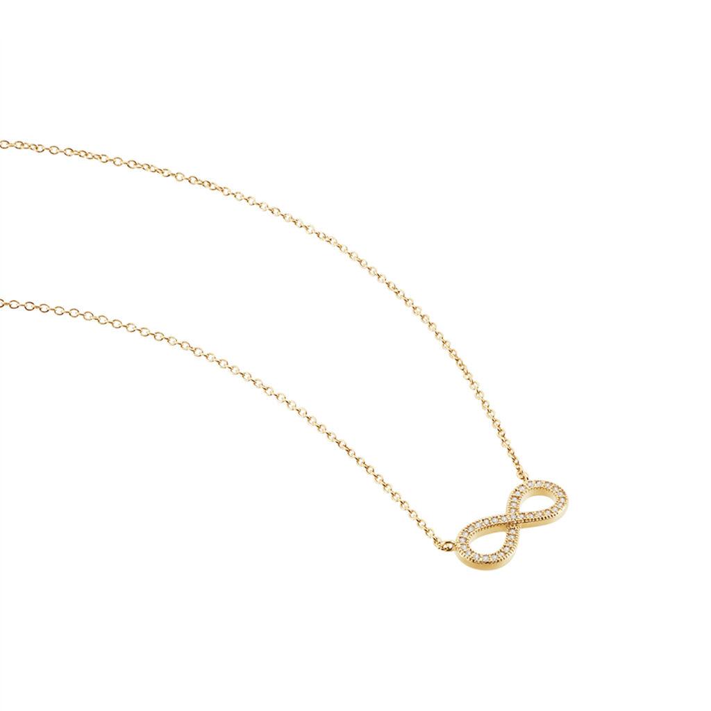 Collier Merane Plaque Or Jaune Oxyde De Zirconium - Colliers Infini Femme   Histoire d'Or
