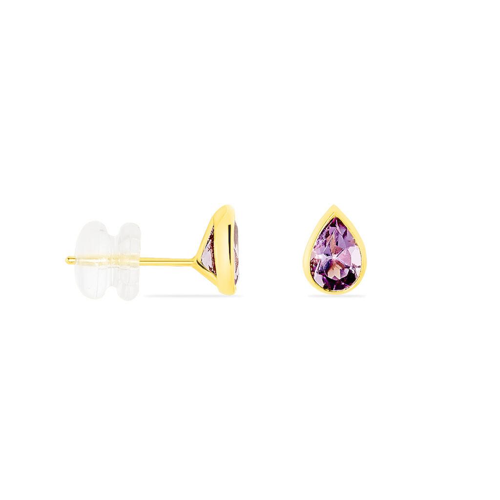 Boucles D'oreilles Puces Fassia Or Jaune Amethyste - Boucles d'Oreilles Papillon Femme | Histoire d'Or
