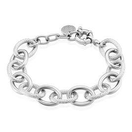 Bracelet Aelia Maille Alternee Acier Blanc - Bracelets fantaisie Femme   Histoire d'Or