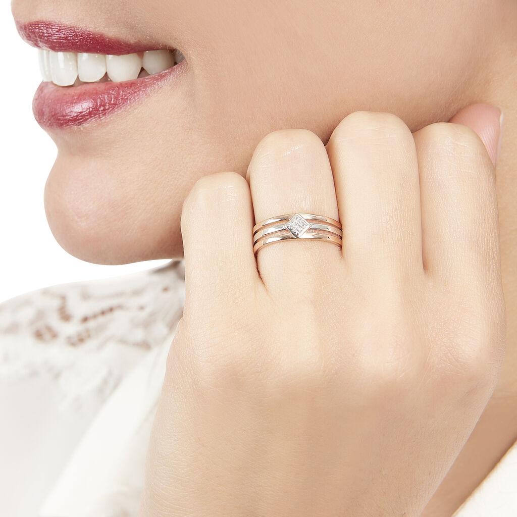 Bague Elsa Or Bicolore Diamant - Bagues avec pierre Femme   Histoire d'Or