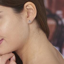 Boucles D'oreilles Puces Guillemette Argent Blanc Oxyde De Zirconium - Boucles d'Oreilles Croix Femme | Histoire d'Or