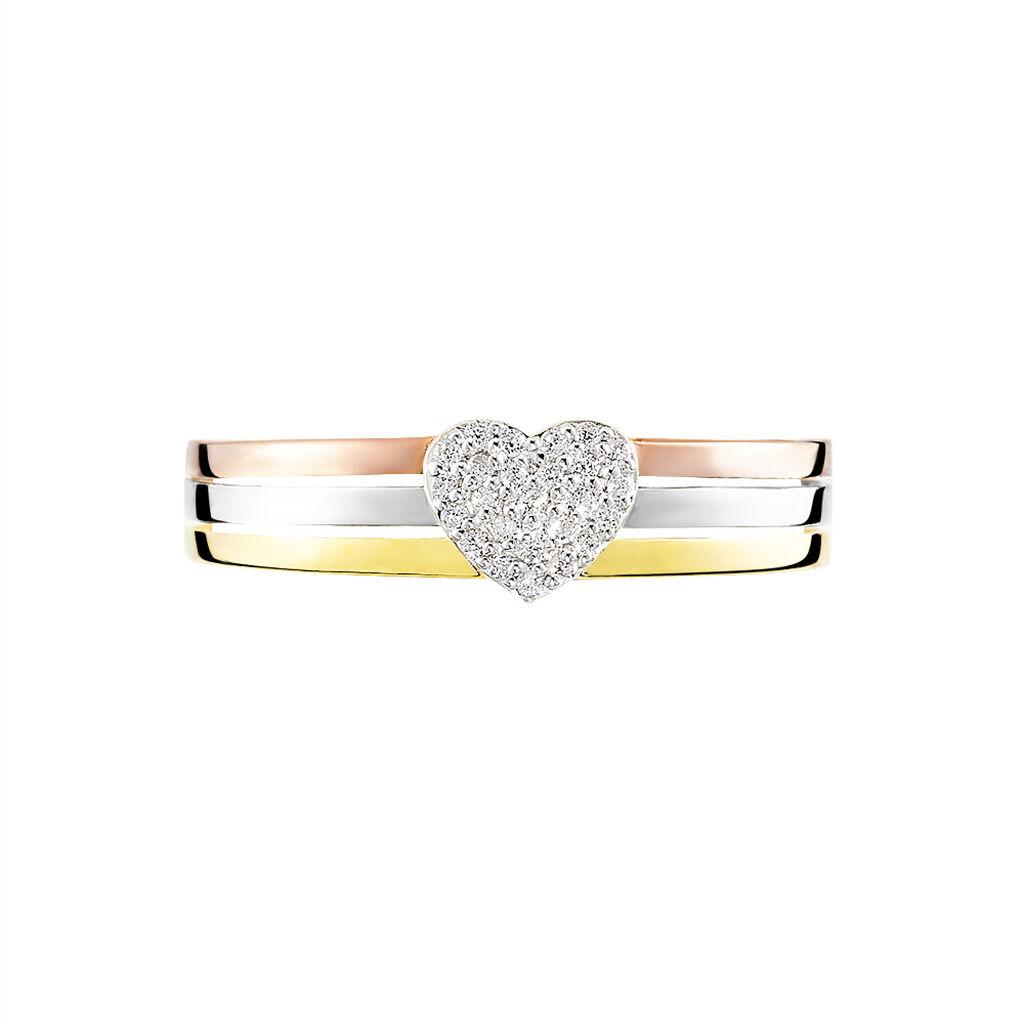 Bague 3 Ors Et Diamants - Bagues avec pierre Femme | Histoire d'Or