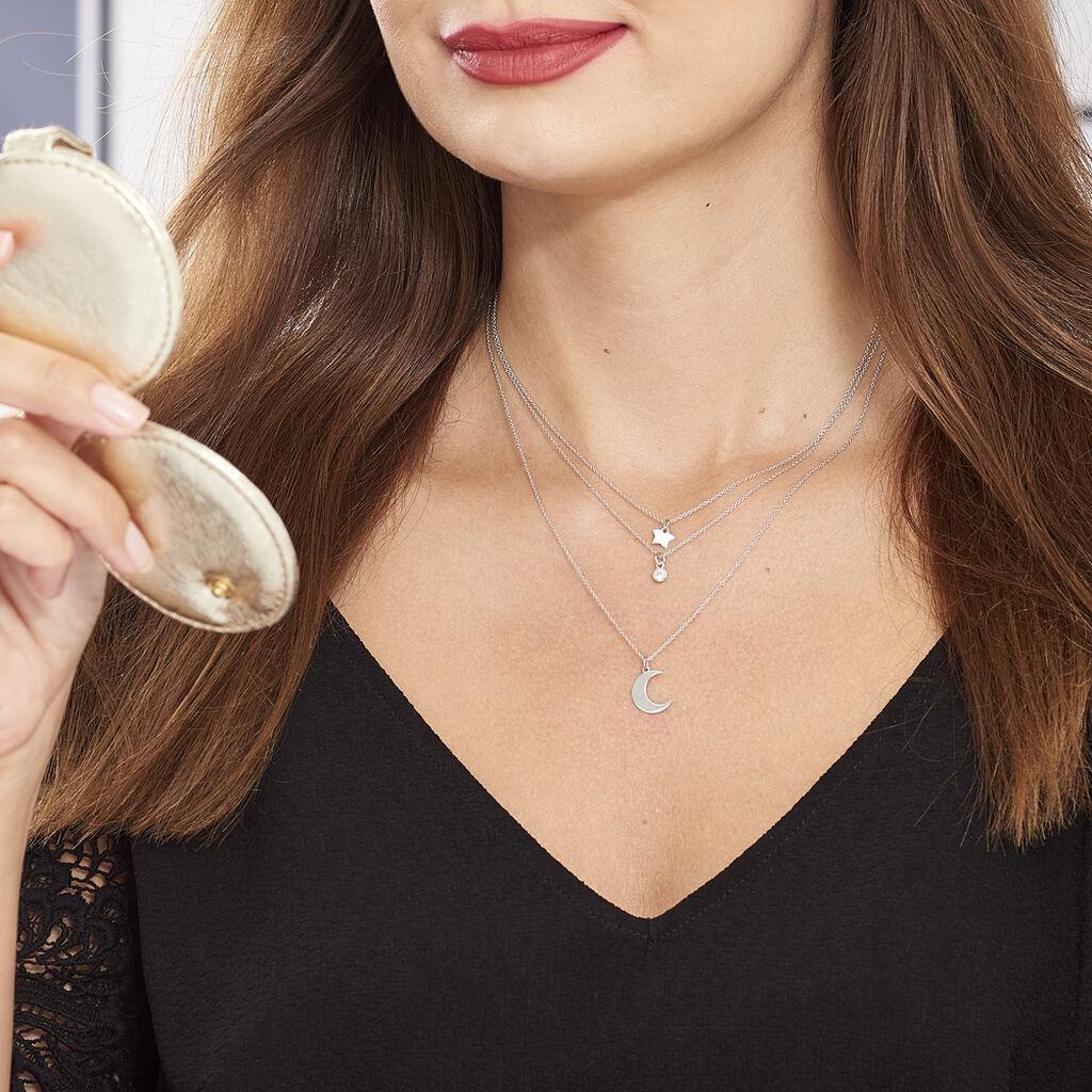 Collier Astre Argent Blanc Oxyde De Zirconium - Colliers Etoile Femme   Histoire d'Or