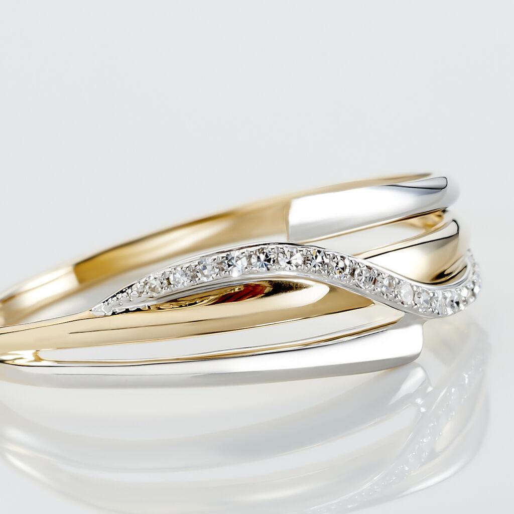 Bague Bodil Or Bicolore Diamant - Bagues avec pierre Femme   Histoire d'Or