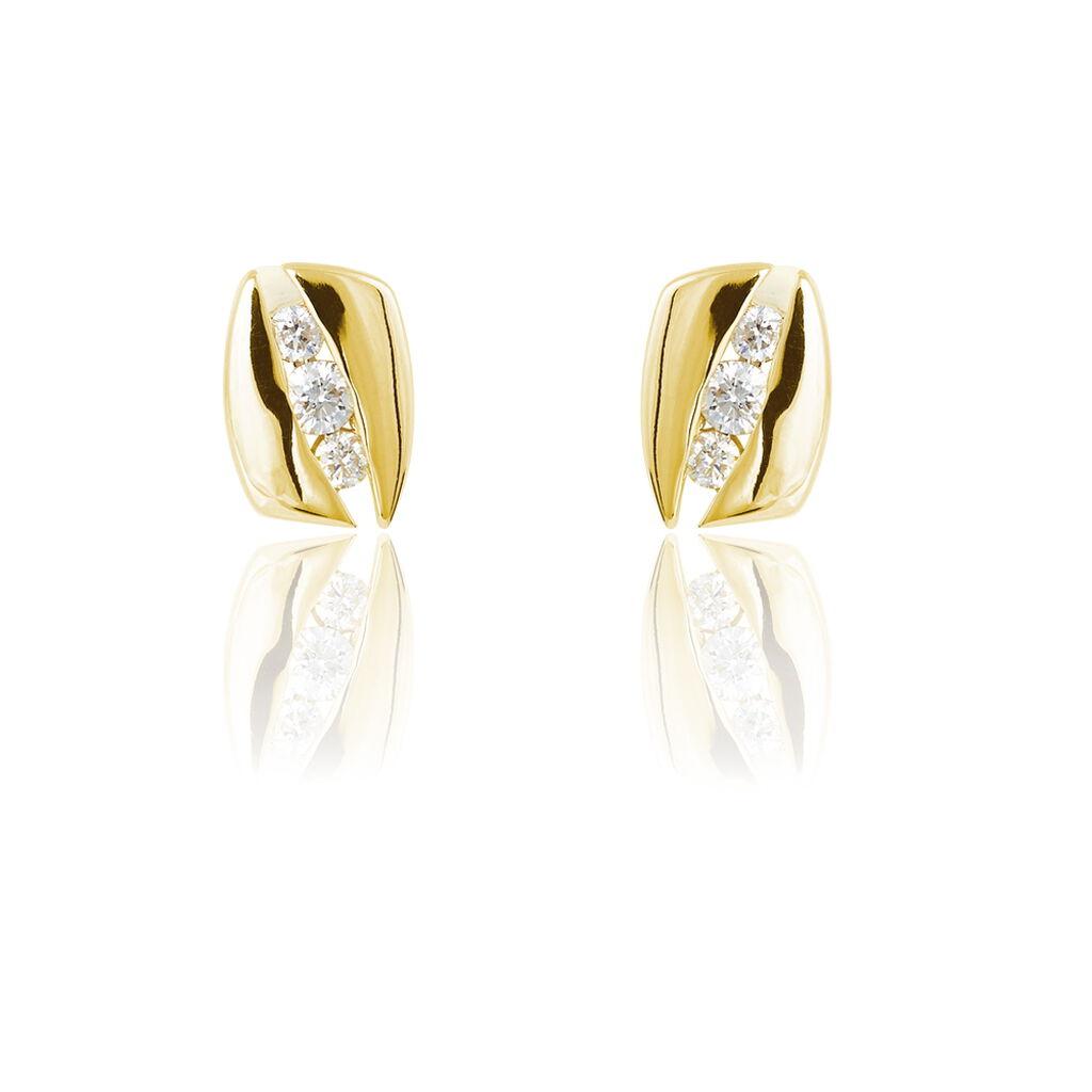 Boucles D'oreilles Puces Infinity Or Jaune Diamant - Boucles d'Oreilles Infini Femme   Histoire d'Or