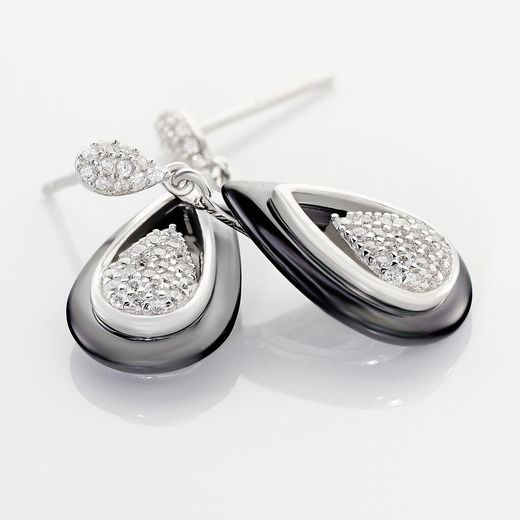 Boucles D'oreilles Pendantes Marina Cera Argent Céramique Et Oxyde - Boucles d'oreilles fantaisie Femme | Histoire d'Or