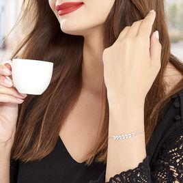 Bracelet Auxanne Argent Blanc - Bracelets Plume Femme | Histoire d'Or