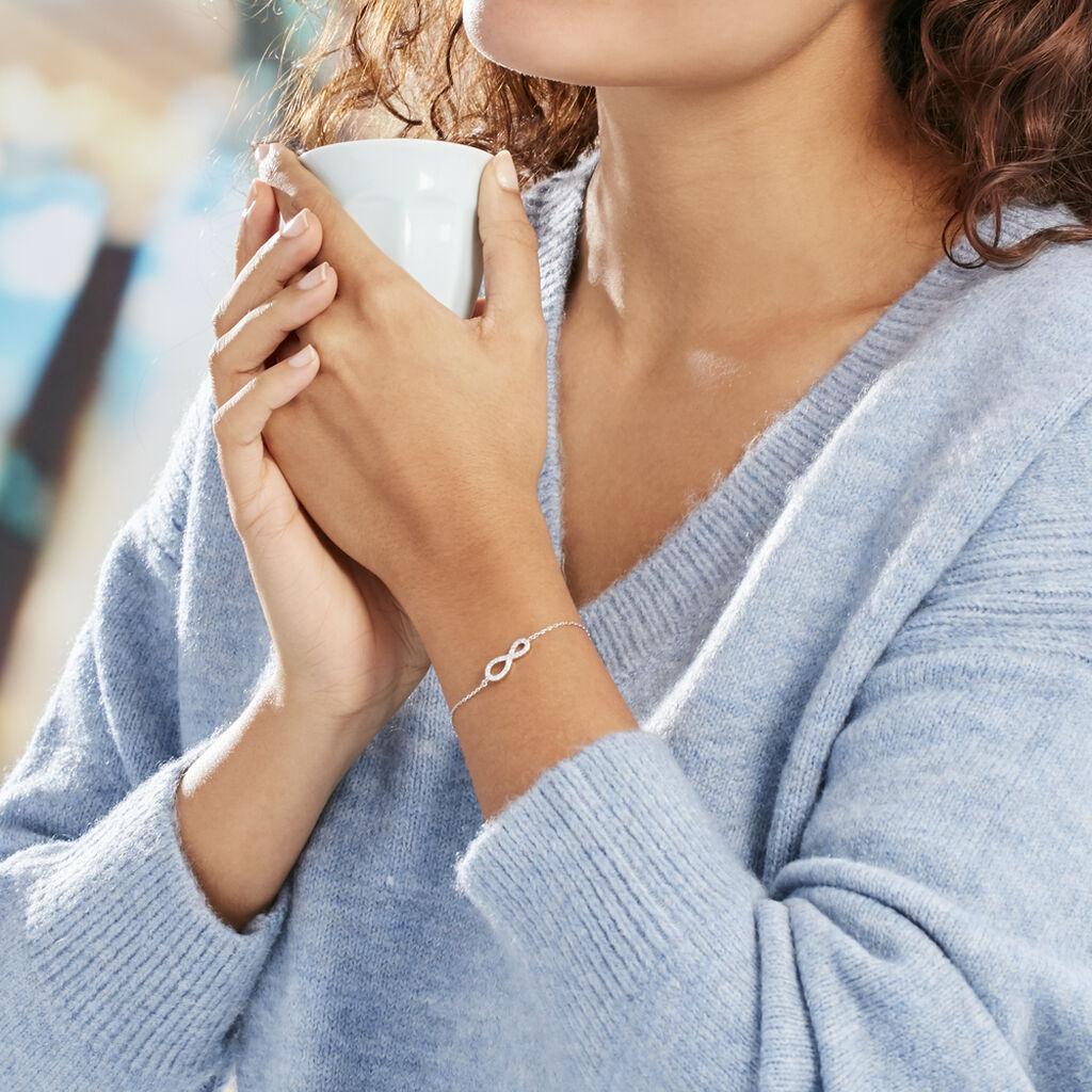 Bracelet Veda Argent Blanc Oxyde De Zirconium - Bracelets Infini Femme   Histoire d'Or