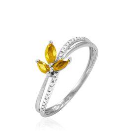 Bague Maura Or Blanc Citrine Et Diamant - Bagues avec pierre Femme   Histoire d'Or