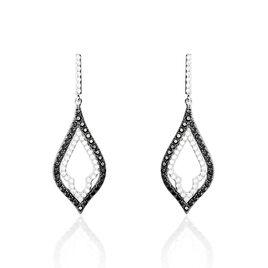 Boucles D'oreilles Puces Adelya Or Blanc Oxyde De Zirconium - Boucles d'oreilles pendantes Femme | Histoire d'Or