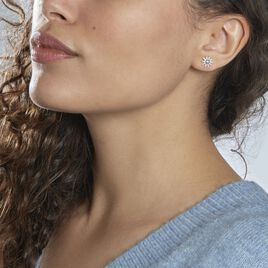 Boucles D'oreilles Dépareillées Bekhta Or Blanc Oxyde De Zirconium - Boucles d'Oreilles Etoile Femme   Histoire d'Or