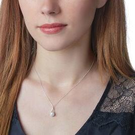 Collier Elisabeth Or Blanc Diamant Et Perle De Culture - Bijoux Femme   Histoire d'Or