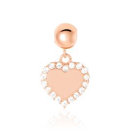 Charms Lelie Or Rose Oxyde De Zirconium - Pendentifs Coeur Femme   Histoire d'Or