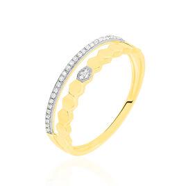 Bague Sol Or Jaune Oxyde De Zirconium - Bagues avec pierre Femme   Histoire d'Or
