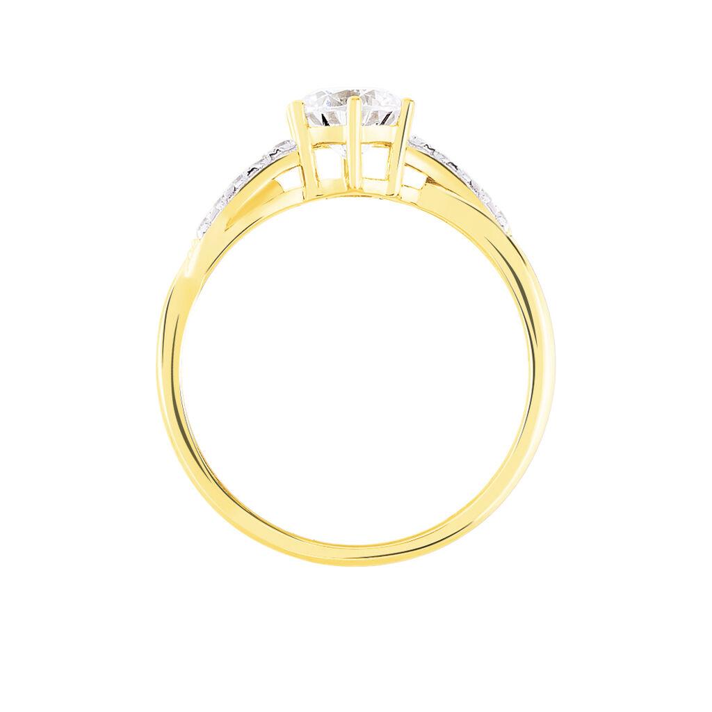 Bague Filipa Or Bicolore Oxyde De Zirconium - Bagues solitaires Femme   Histoire d'Or