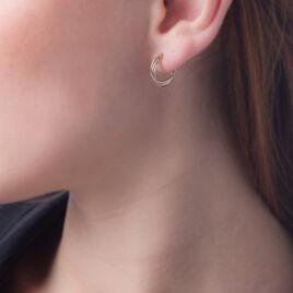 Créoles Tanya Croisees Fils Lisses Rondes Or Tricolore - Boucles d'oreilles créoles Femme | Histoire d'Or