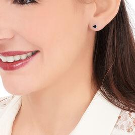 Boucles D'oreilles Puces Edy Serti Clos Or Blanc Saphir - Clous d'oreilles Femme | Histoire d'Or