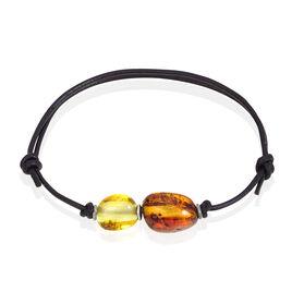 Bracelet Argent Ambre Cordon Noir - Bracelets cordon Femme   Histoire d'Or