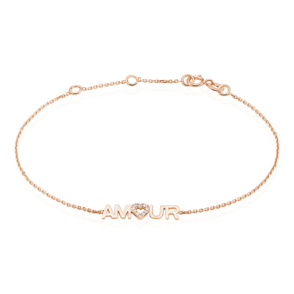 Bracelet Tomi Or Rose Oxyde De Zirconium - Bracelets Coeur Femme | Histoire d'Or