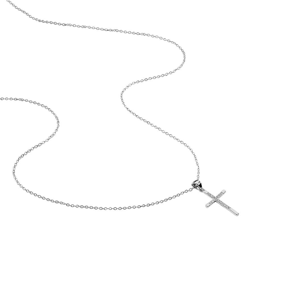 Collier Chirsta Argent Blanc Oxyde De Zirconium - Colliers Croix Femme   Histoire d'Or