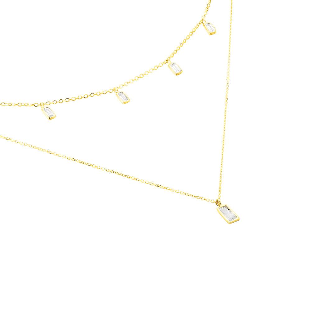 Collier Ginna Or Jaune Oxyde De Zirconium - Colliers double et triple chaines Femme | Histoire d'Or