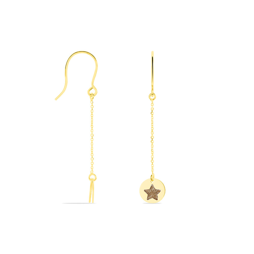 Boucles D'oreilles Pendantes Roxanne Or Jaune - Boucles d'Oreilles Etoile Femme | Histoire d'Or
