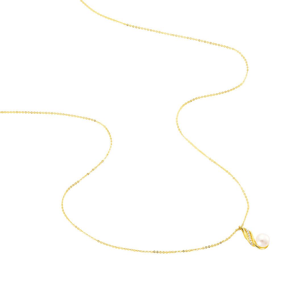 Collier Leta Or Jaune Perle De Culture Et Oxyde De Zirconium - Bijoux Femme | Histoire d'Or