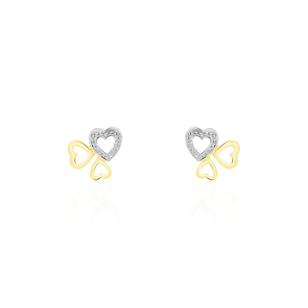 Boucles D'oreilles Puces Anne-maudae Triple Coeurs Or Bicolore - Boucles d'Oreilles Coeur Femme   Histoire d'Or
