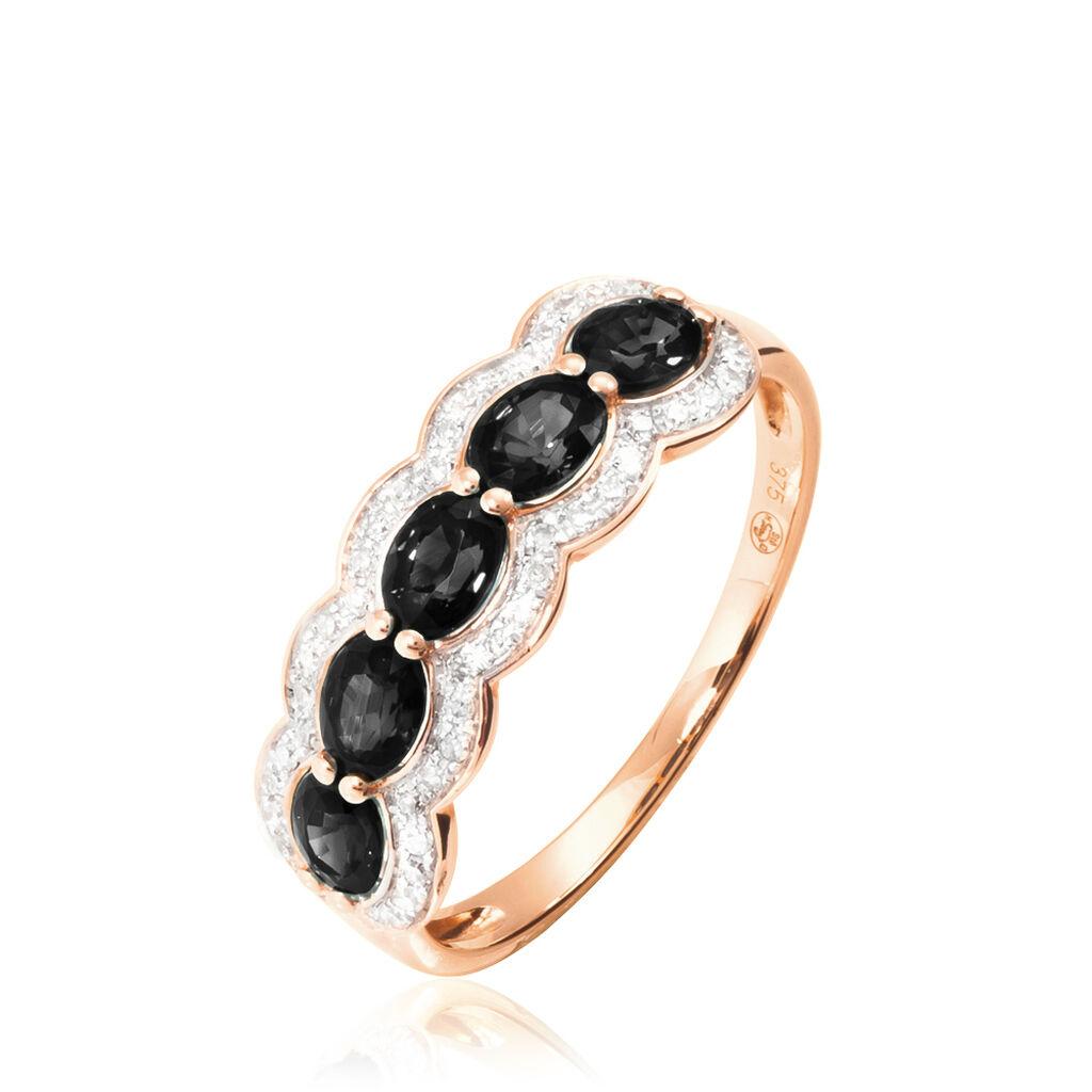 Bague Margaux Or Rose Onyx Et Diamant - Bagues avec pierre Femme   Histoire d'Or