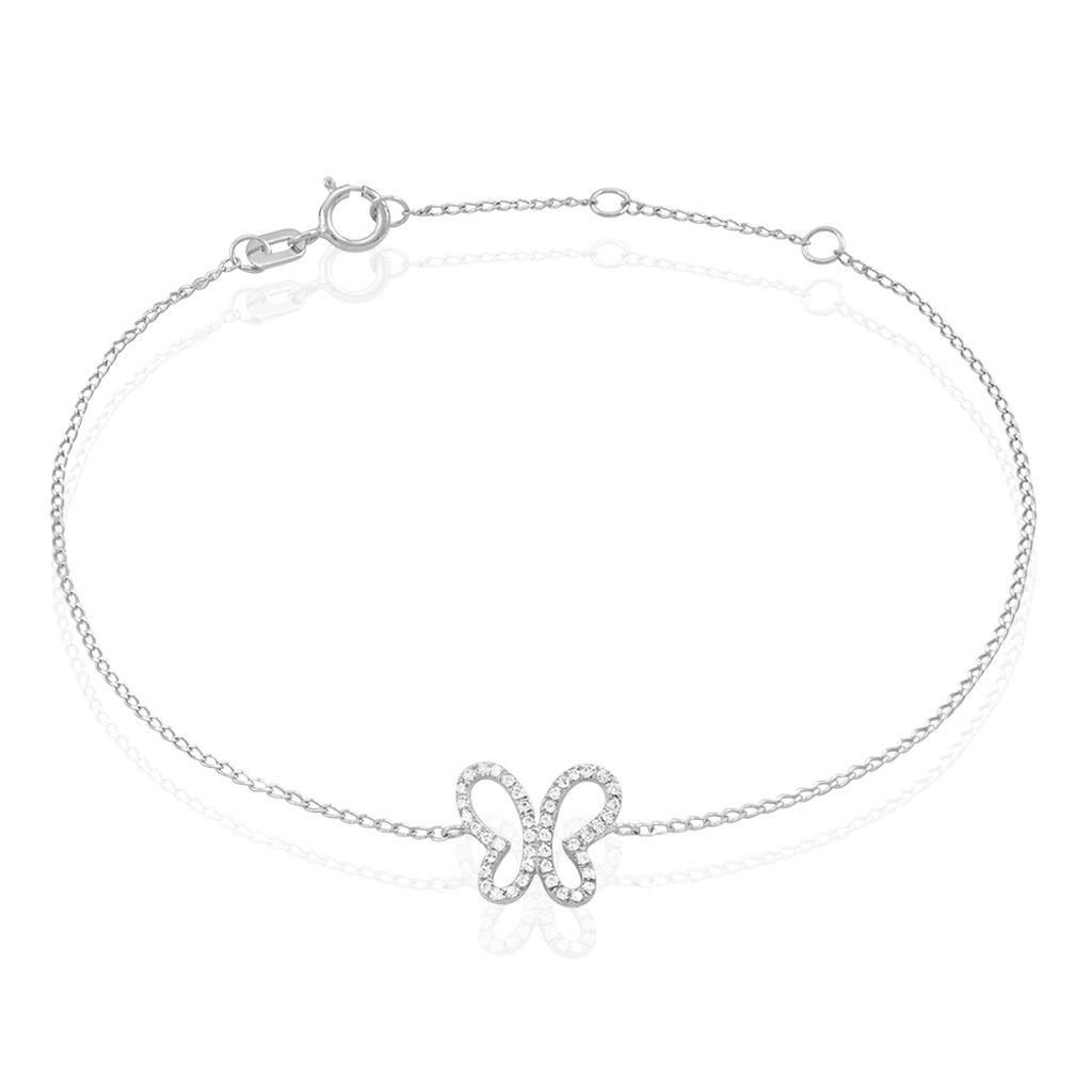 Bracelet Or Blanc Oxyde De Zirconium - Bracelets Papillon Femme | Histoire d'Or