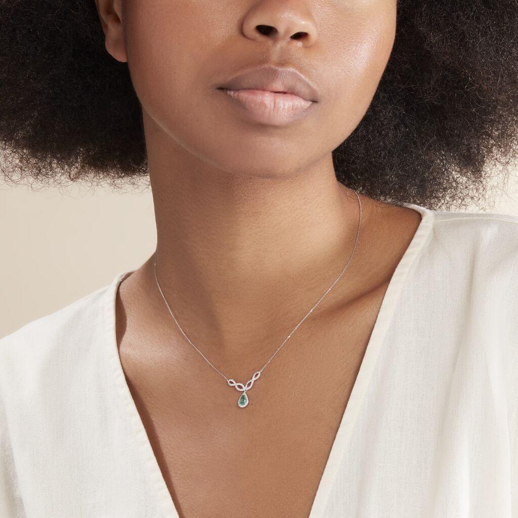 Collier Sissi Or Blanc Diamant Et Emeraude - Colliers Infini Femme | Histoire d'Or