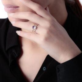 Bague Tina Or Rose Quartz Et Oxyde De Zirconium - Bagues avec pierre Femme   Histoire d'Or