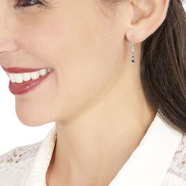 Boucles D'oreilles Pendantes Josephine Or Blanc Saphir Et Diamant - Boucles d'oreilles pendantes Femme | Histoire d'Or