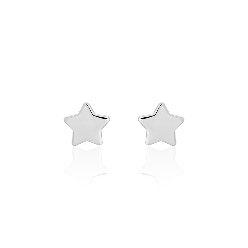 Boucles D'oreilles Puces Astre Argent Blanc - Boucles d'Oreilles Etoile Femme | Histoire d'Or