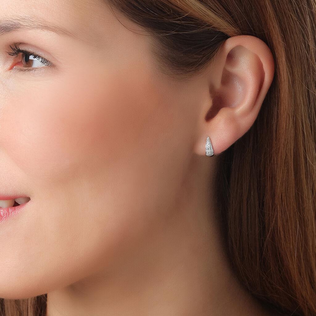 Créoles Diviaae Rondes Or Blanc Diamant - Boucles d'oreilles créoles Femme   Histoire d'Or