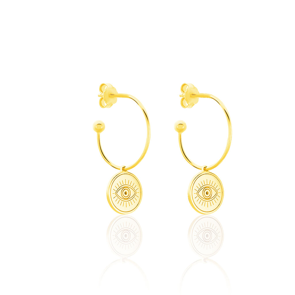 Créoles Olia Argent Jaune - Boucles d'oreilles créoles Femme | Histoire d'Or