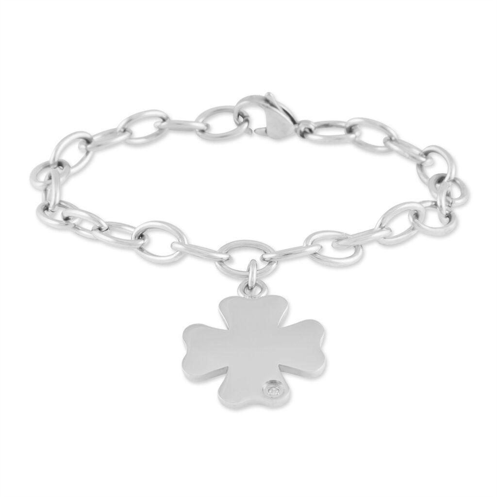 Bracelet Coralise Acier Blanc Diamant - Bracelets Trèfle Femme | Histoire d'Or