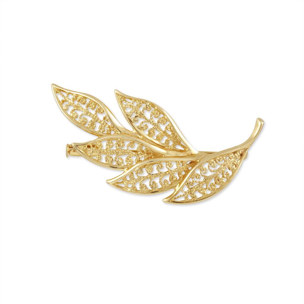 Broche Gwenda Plaque Or Jaune - Bijoux Plume Femme   Histoire d'Or