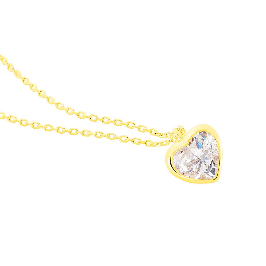 Collier Coeur Serti Clos Or Jaune Oxyde De Zirconium - Colliers Coeur Femme | Histoire d'Or