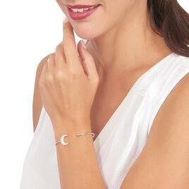 Bracelet Jonc Laubna Argent Blanc - Bracelets fantaisie Femme   Histoire d'Or