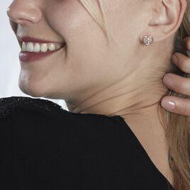 Boucles D'oreilles Puces Modana Or Blanc Diamant - Boucles d'Oreilles Coeur Femme   Histoire d'Or