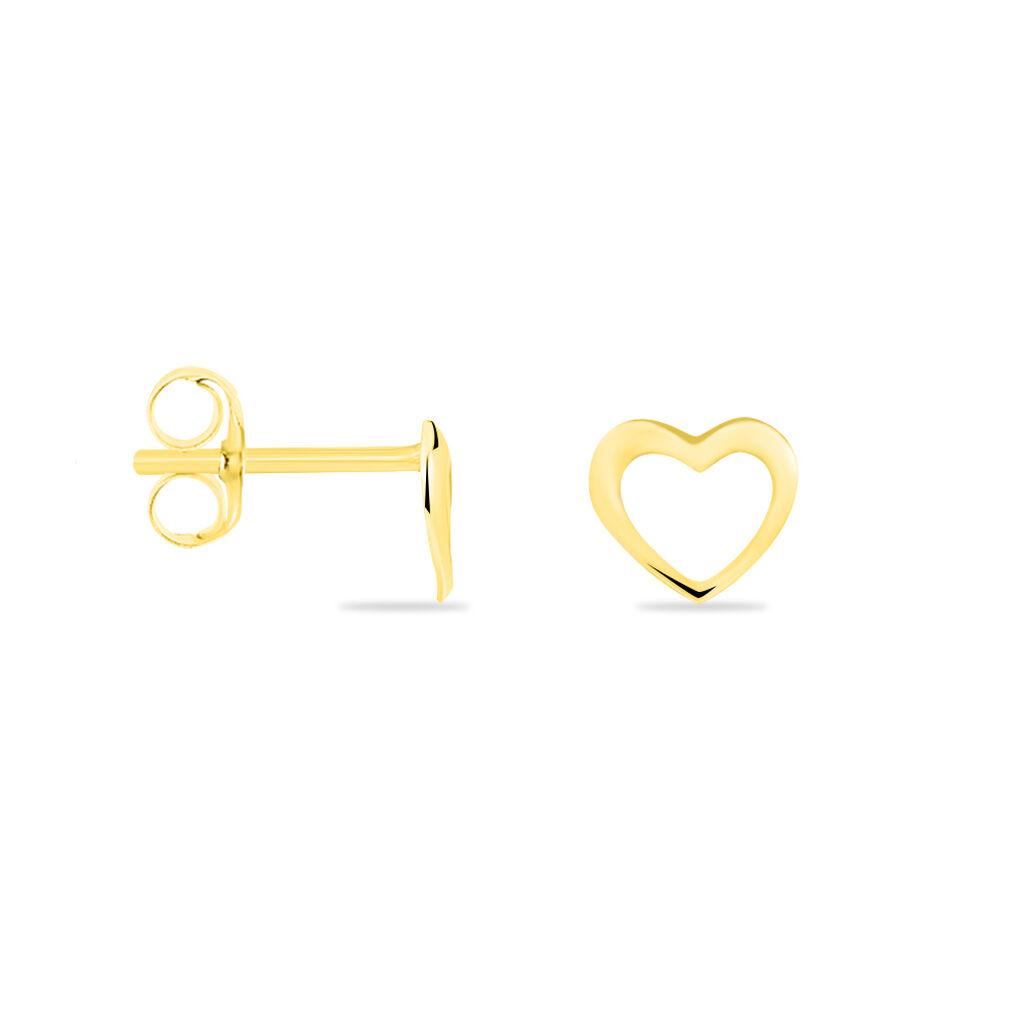 Boucles D'oreilles Puces Anne-maudae Coeurs Or Jaune - Boucles d'Oreilles Coeur Femme | Histoire d'Or