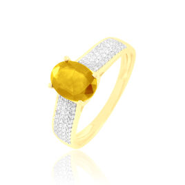 Bague Crista Or Jaune Citrine Et Diamant - Bagues avec pierre Femme | Histoire d'Or
