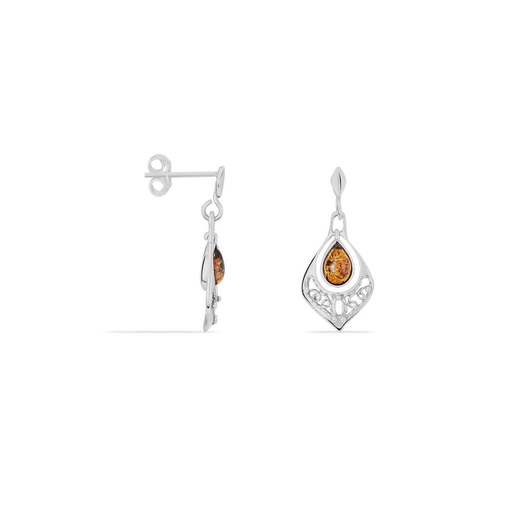 Boucles D'oreilles Pendantes Doralyn Argent Blanc Ambre - Boucles d'oreilles fantaisie Femme | Histoire d'Or
