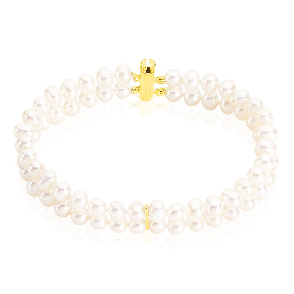 Bracelet 2 Rangs Or Jaune Perle De Culture