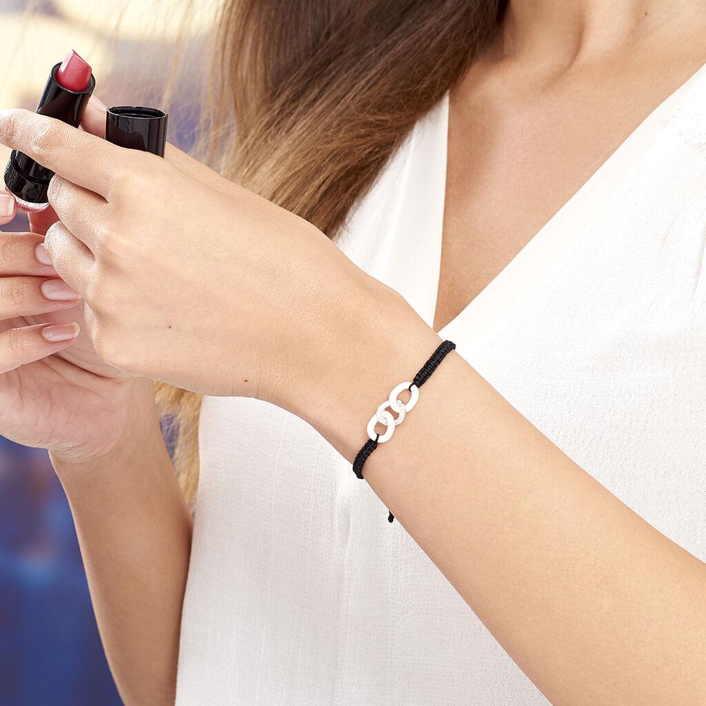 Bracelet Link Argent Blanc Oxyde De Zirconium Et Céramique - Bracelets cordon Femme   Histoire d'Or