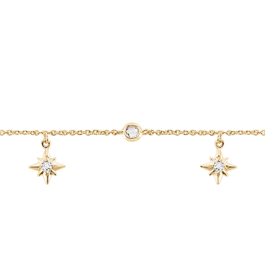 Chaîne De Cheville Lenka Plaque Or Jaune Oxyde De Zirconium - Bijoux Etoile Femme   Histoire d'Or