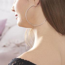 Creoles Argent Rhodie Flexible - Boucles d'oreilles créoles Femme | Histoire d'Or