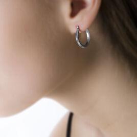 Créoles Ilana Lisses Fil Triangle Or Blanc - Boucles d'oreilles créoles Femme | Histoire d'Or